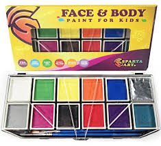 professional face paint kit for kids 12 vibrant color palette face painting and painting set sy case and stencils face paint kits