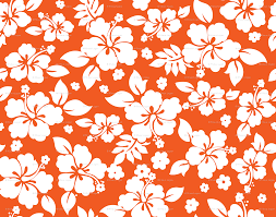 Hawaiian Pattern Interesting Hawaiian Flower Hisbiscus Pattern Orange And White Tropical Lulau