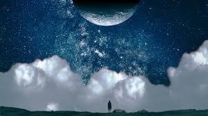 wallpaper sea night water nature sky artwork clouds earth calm moon blue alone horizon hei universe cloud ocean wave darkness daytime