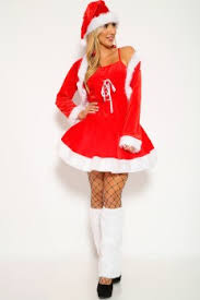 Sexy Red White Santa Holiday Two Piece Costume