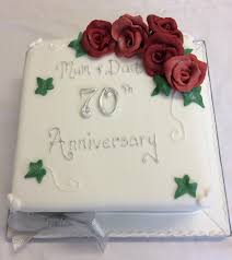 Platinum 70th Wedding Anniversary Cake The Cake Box