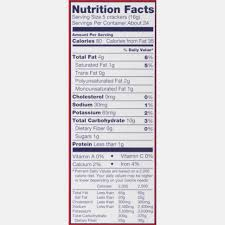 ritz ers nutrition label