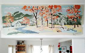 vintage paint by numbers wall mural