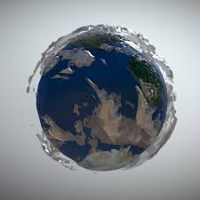Animated Low Polygon Art Planet Earth 3d Model