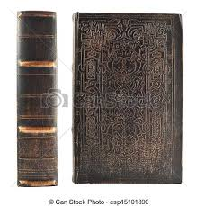 old book spine and cover isolated over white background