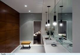 contemporary black pendant lights for modern bathroom design with large wall mirrors