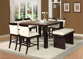 Square Kitchen Table With Bench Acme 71040 Keelin 8pcs Espresso Square Counter Height Dining Set Bench