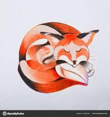 фотография лисы эскиз лиса который завитые вверх и спит стоковое