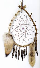 Huge Dream Catchers Large Vine Dream Catcher with Coyote Tails Amethyst Crystal 80