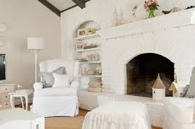 shabby chic white brick fireplace