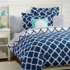 lucky clover reversible duvet cover sham royal navy pbteen blue bed sets twin