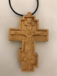 hand carved wooden three bar cross