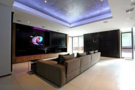 contemporary media room decorating arrangement idea. Modern Media Room Ideas With Grey Sofa And Purple LED Lighting Design Using Concrete Floor Contemporary Decorating Arrangement Idea R