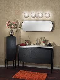 impressive bathroom vanity decor ideas with 4 light bubble vanity fixtures above wall mirror frameless and bathroom lighting black vanity light fixtures ideas