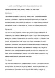calam atilde copy o gettysburg address essay an outline of the main gettysburg address essay an outline of the main points introduction