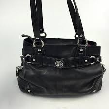 Authentic COACH Black Leather Tote Shoulder Bag Silver Hardware J0873 -  ReuseNation