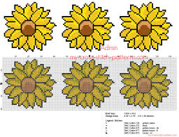 Simple Cross Stitch Floral Border With Sunflowers Height 40