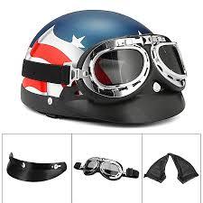 motorcycle half face helmet biker scooter pilot goggles cafe racer retro us flag