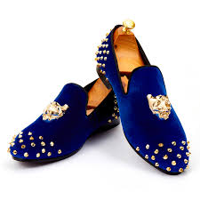 <b>Harpelunde</b> Mens Wedding <b>Shoes</b> Spikes <b>Blue Velvet Loafers</b> ...