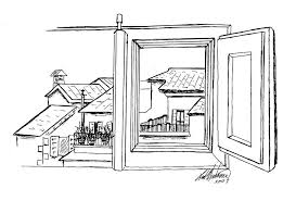 window view drawing. sketch drawing - casa cordati window view by leah wiedemer