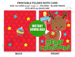 Christmas Card Merry Christmas A2 Size Printable Note Cards