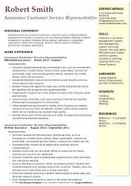 Insurance Representative Resumes Experienced Customer Service Resume Insurance Customer Service