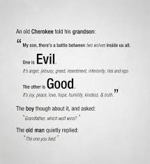 best mona images real quotes funny life quotes  an old cherokee told his grandson inspirational quote about a battle between two wolves inside us all good and evil