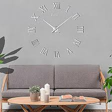 large 3d silver roman numeral decorative sticker wall clock