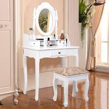 costway white tri folding oval mirror wood vanity makeup table set with stool 7 drawers bathroom walmart