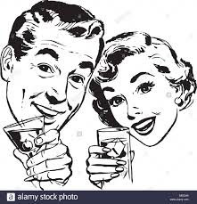 Couple With Cocktails - Retro Clipart Illustration Stock Vector Image & Art  - Alamy