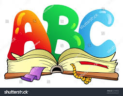 cartoon abc letters with open book vector ilration