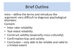 essay plan for to what extent can diagnosis be reliable and valid  reliability and validity 4