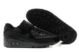 mens nike air max 90 leather up shoes all black nike shoes super quality