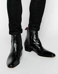 Short stacked heel heel height: Handmade Men Black Leather Chelsea Boots Men Fashion Casual Ankle Leather Boots Ebay