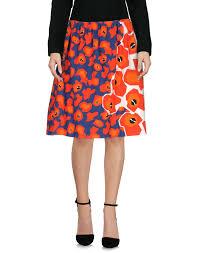Jil Sander Navy Knee Length Skirt Red Women Skirts Jil