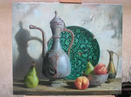 Современный натюрморт Страница ru Сабит Нуримов Натюрморт с зеленой тарелкой