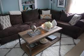 ikea white shag rug. Fascinating Brown Sectional Sofa With Traditional Wooden Coffee Table Set On White Net Ikea Shag Rug