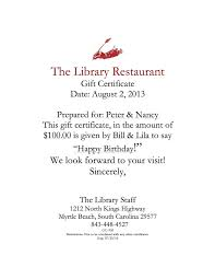 the library restaurant gift certificates sample certificate