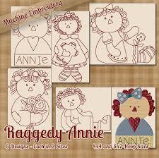 Machine Embroidery Patterns Interesting Raggedy Ann Annie Machine Embroidery Designs Redwork StitchX