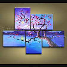 on modern canvas painting wall art with pentaptych contemporary wall art floral plum blossom interior design