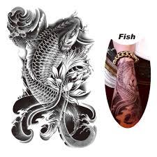 горячая черная рыба временные татуировки наклейки водонепроницаемые Body Art