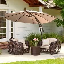 Outdoor Patio Furniture With Tan Cantilever Umbrella Canopy