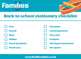 Checklist For School Your Back To School Stationary Checklist Families Online