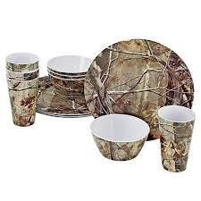 Camouflage Dishes Amazoncom Realtree 12 Piece Brown Camo Melamine Dinnerware
