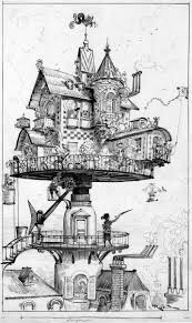 A steampunk-themed photo. black and white drawing of small house of complex  design raised above the surrounding buildings on.