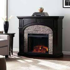 stacked stone electric fireplace w in ebony with gray corner