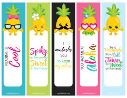 pineapple bookmarks free printable set summer bookmarks freeprintable printable pineapple