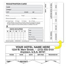 Hotel Accommodations Cards Hotel Motel Registration Cards Forms National Hospitality Supply