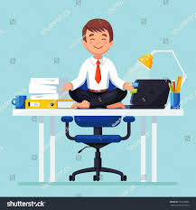 meditation businessman office. business man meditating in lotus pose on table office room boss doing yoga and meditation businessman