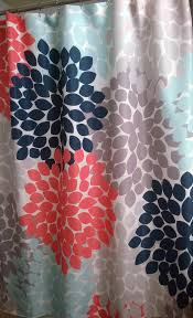 Dahlia Floral Shower Curtain In Navy Coral Aqua Gray Swirled Peas